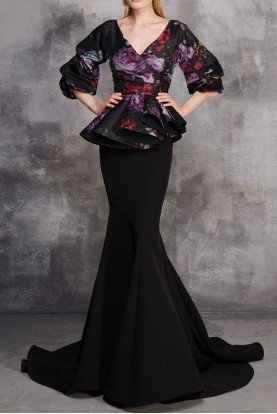 MNM Couture Black Floral Peplum Mermaid Evening Gown