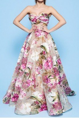 MNM Couture A Line Ball Strapless Floral Gorgeous Evening Gown