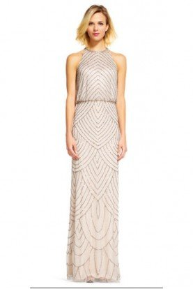Halter blouson beaded gown