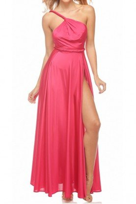 Vamp One Shoulder High Slit Gown