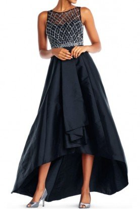 high low taffeta ball gown beaded illusion top