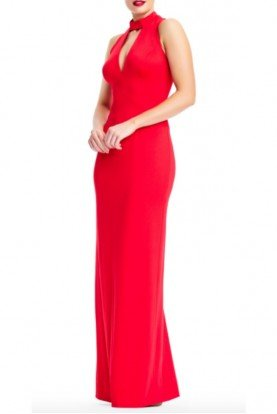 Adrianna Papell Red Lola Lace Up Jersey Gown Evening Dress