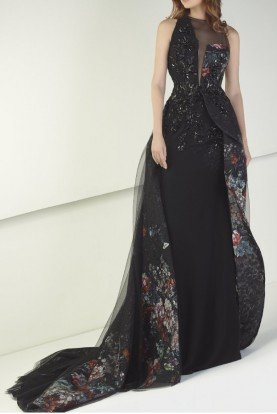 Tony Ward Black Sleeveless Evening Gown