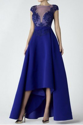 SK by Saiid Kobeisy High Low Blue Evening Gown A Line Couture Dress