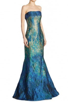 Rene Ruiz Blue Teal Metallic Strapless Evening Gown Dress