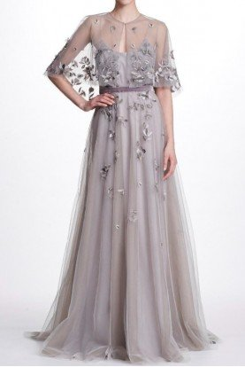 Silver Sleeveless Floral Beaded Tulle Evening Gown