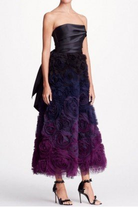 Marchesa Notte Black Strapless Ombre Textured Midi Tea Dress Gown