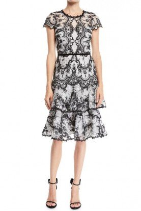 Marchesa Notte Black White Cap Sleeve Embroidered Cocktail Dress