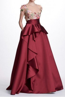 A Line 3D Floral Embroidered Mikado Ball Gown
