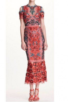 Red Guipure Lace Midi Tea Cocktail Dress