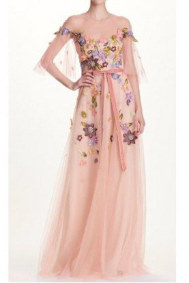 Marchesa Notte Coral Pink Floral Beaded Tulle Evening Gown Dress