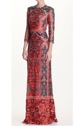 Marchesa Notte Quarter Sleeve Guipure Red Lace Evening Gown