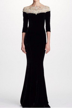Marchesa Black Velvet Quarter Sleeve Pearl Evening Gown
