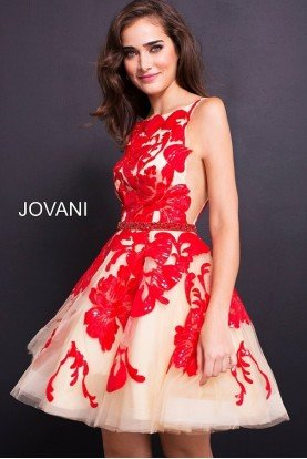 Jovani 57950 Sleeveless Sequined A Line Party Dress