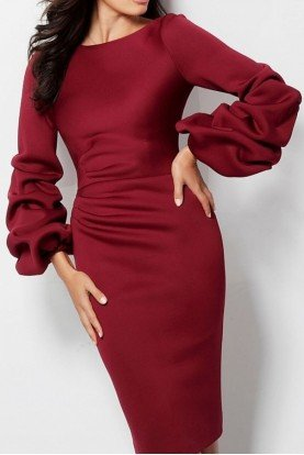 63446 Wine Red Long Sleeve Cocktail Dress