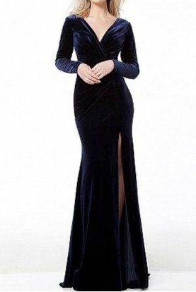 40723 Navy Long Sleeve Velvet Gown Evening Dress