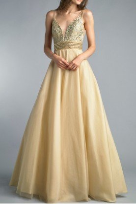 Champagne Gold Sleeveless A Line Evening Ball Gown