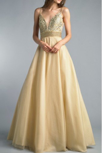 Basix Black Label Champagne Gold Sleeveless A Line Evening Ball Gown