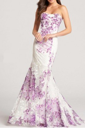 ellie wilde White and Purple Lace Mermaid Gown Floral Dress