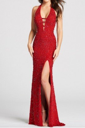 ellie wilde PLUNGING NECKLINE FITTED Open Back Red Slit  Prom