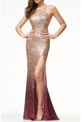 Mon Cheri CL18241 Gold Wine Sequin Ombre Fitted Formal Dress