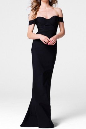 Tarik Ediz Black Off Shoulder Elvera Evening Gown