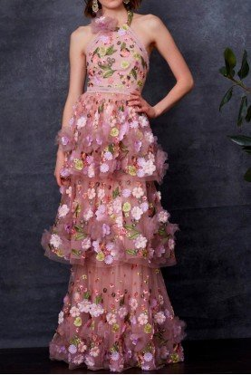 Blush Sleeveless Floral Embroidered Evening Gown