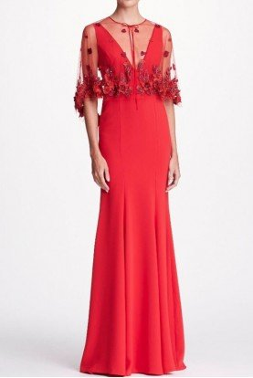 Marchesa Notte 2 Piece Red Crepe Evening Gown with Cape
