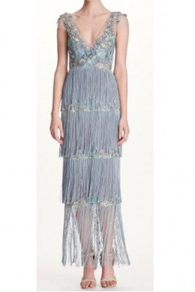 Marchesa Notte Light Blue Cap Sleeve Fringe Midi Tea Gown