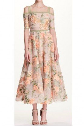 Marchesa Notte Off Shoulder Nude 3D Embroidered Midi Tea Dress