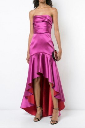 Pink Strapless Two Tone Mikado High Low Gown Dress