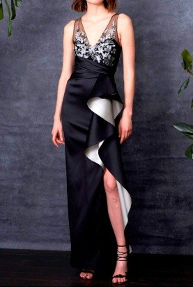 Marchesa Notte Sleeveless Two Tone Stretch Mikado Column Gown