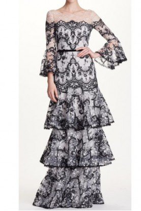 Corded Embroidered Lace Bell Sleeve Evening Gown