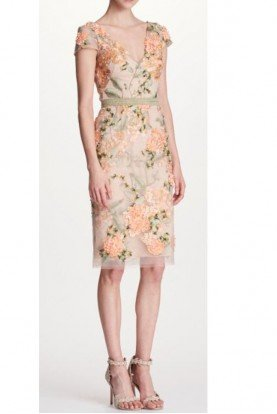 Marchesa Notte Floral Embellished Cap Sleeve Cocktail Dress Nude