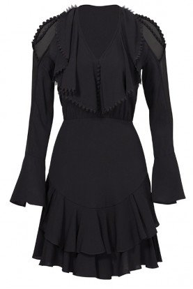Black Plume Cold Shoulder Ruffle Dress