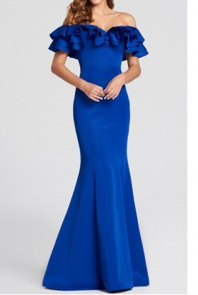 ellie wilde Royal Blue Ruffle Shoulder Mermaid Jersey Gown