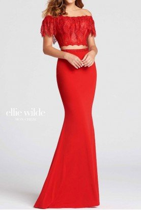 ellie wilde Two Piece Off Shoulder Red Lace Gown Prom Dress