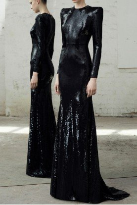 Alex Perry  Lane Black Long Sleeve Sequin Gown