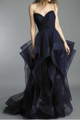 Basix Black Label Navy Strapless Ruffled Evening Dress Gown