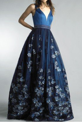 Blue Sleeveless Floral A Line Evening Gown