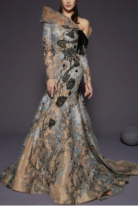 Fouad Sarkis Couture Asymmetrical Neckline Long Sleeve Lace Gown