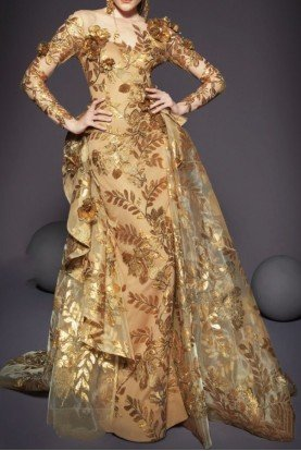 Gold Floral Embroidered Long Sleeve Evening Gown