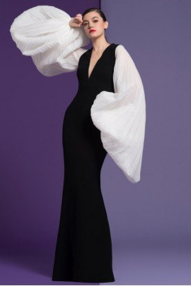 Isabel Sanchis Black Plunging Neck Balloon Sleeve Eliona Gown