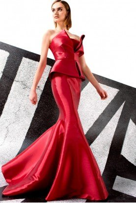 John Paul Ataker Red Strapless Taffeta 2 Piece Evening Gown
