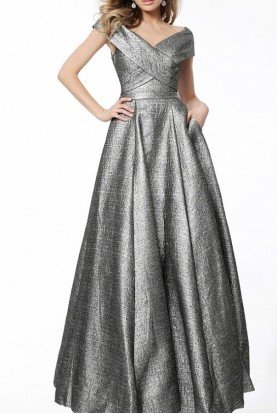 Jovani 61056 Silver Off Shoulder A Line Ball Gown