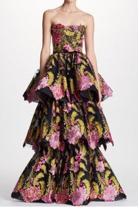 Marchesa Black Floral Strapless Lace Evening Gown