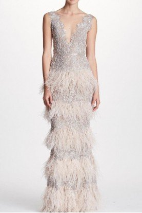 Marchesa Silver Metallic Lace Feather Column Gown