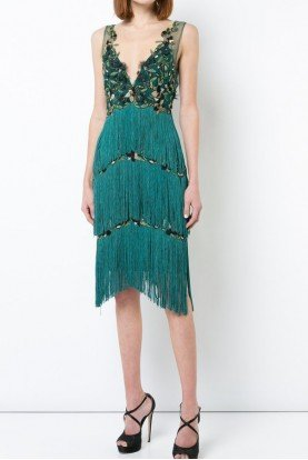 Marchesa Notte Emerald Green Embroidered Fringed Applique Dress