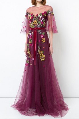 Marchesa Notte Wine Red Floral Beaded Tulle Evening Gown N23G0579