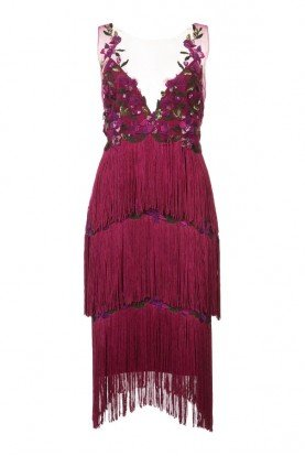 Sleeveless Embroidered Fringe Cocktail Dress